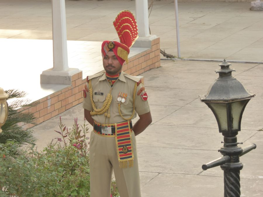 Under the watchful eye of guards on the Indian side