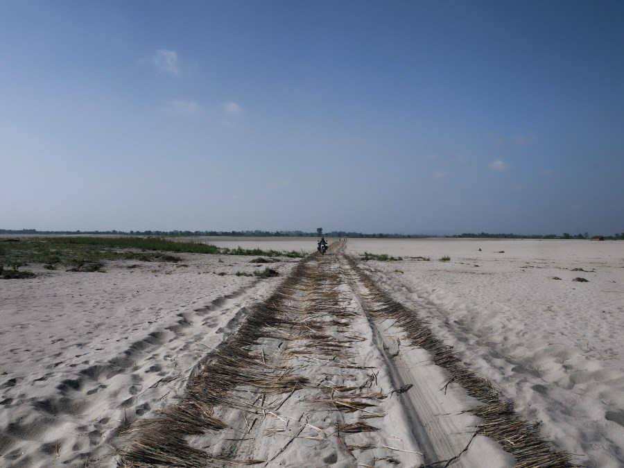 On Majuli Island .... but first this long sandy stretch made so much easier by this dried grass!