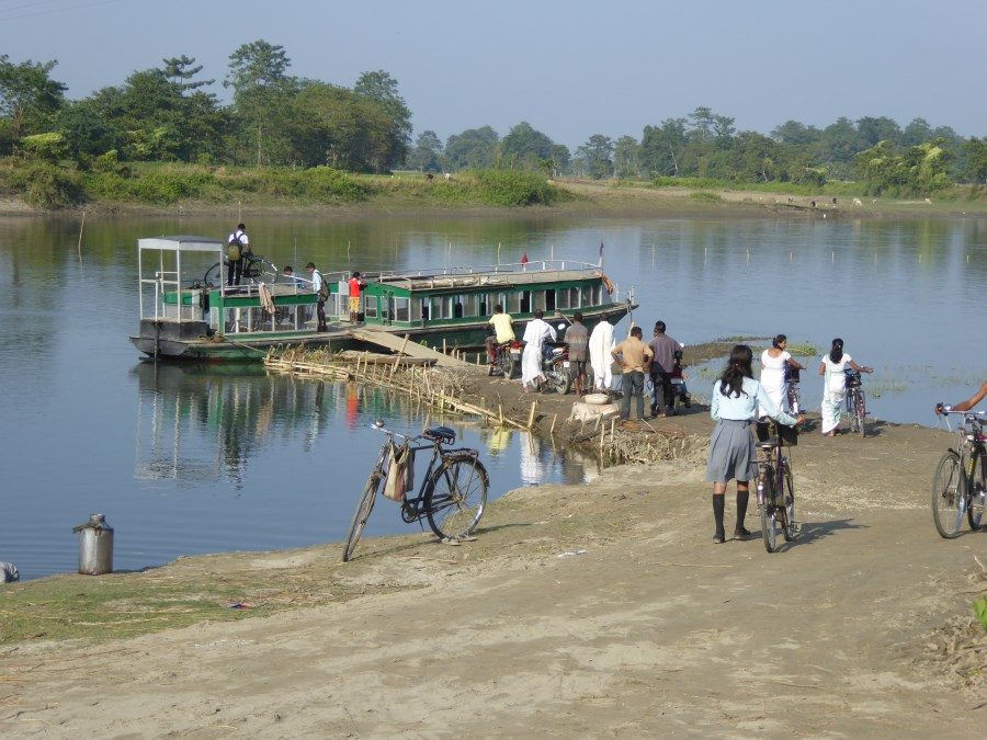 We are surprised by a second ferry crossing as the Brahmaputra River fragments the island more and more each year ....
