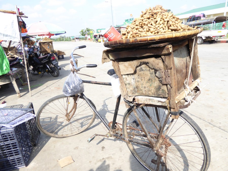 Monkey nuts being roasted on the back of this bike.