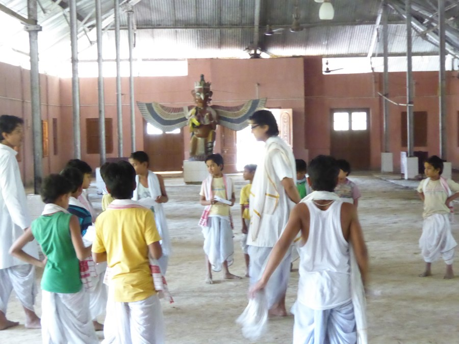 Here novice monks are practising for the Mahotsav Festival ...