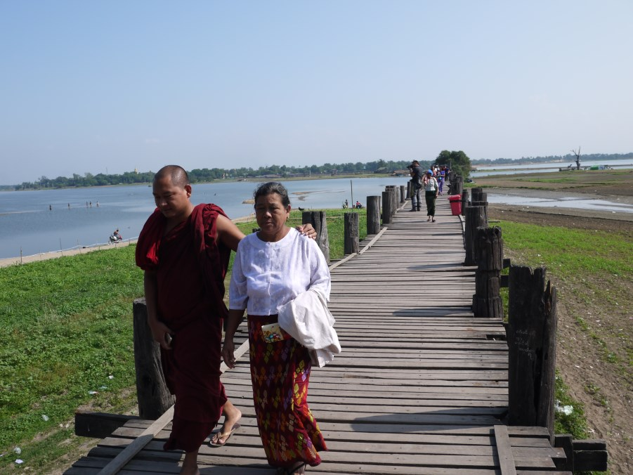 In Mandalay, the iconic wooden footbridge - U Bein Bridge. Built in early 1800s with 1060 poles ... and only a few have been replaced since.
