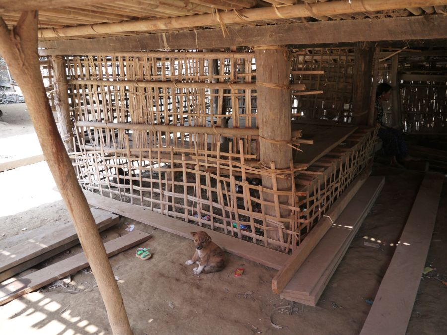 Livestock is kept under the homes. This one is a goat pen