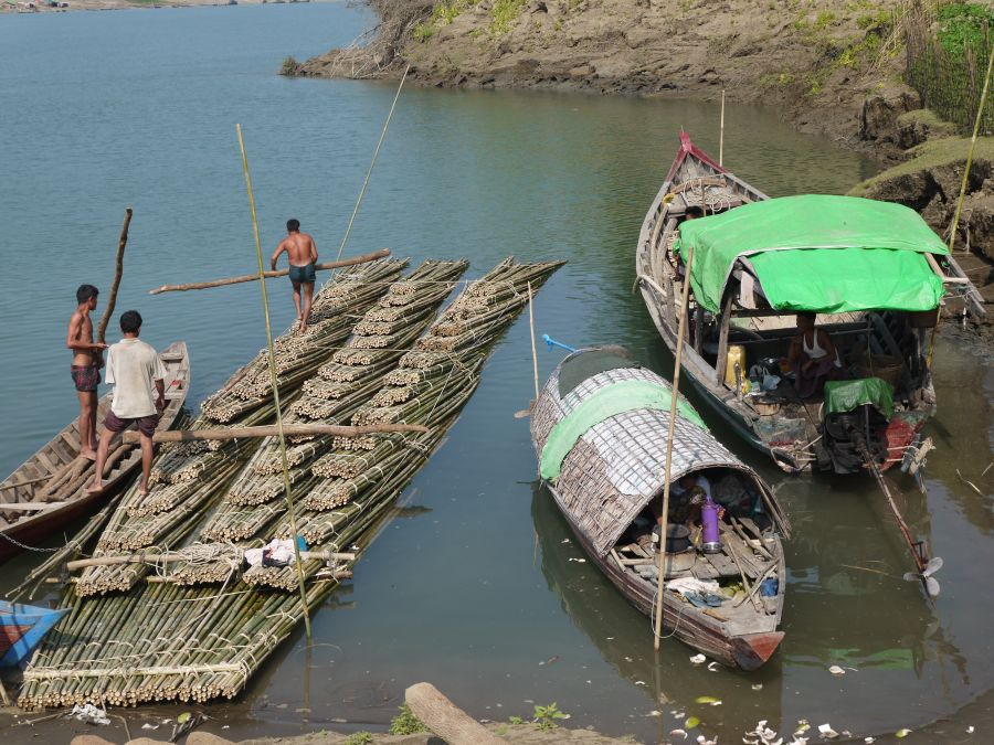 The more prosperous house boat owners have motors which they use to tow bamboo downstream