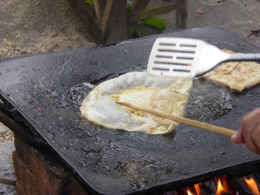 Breakfast - a bean and egg pancake.