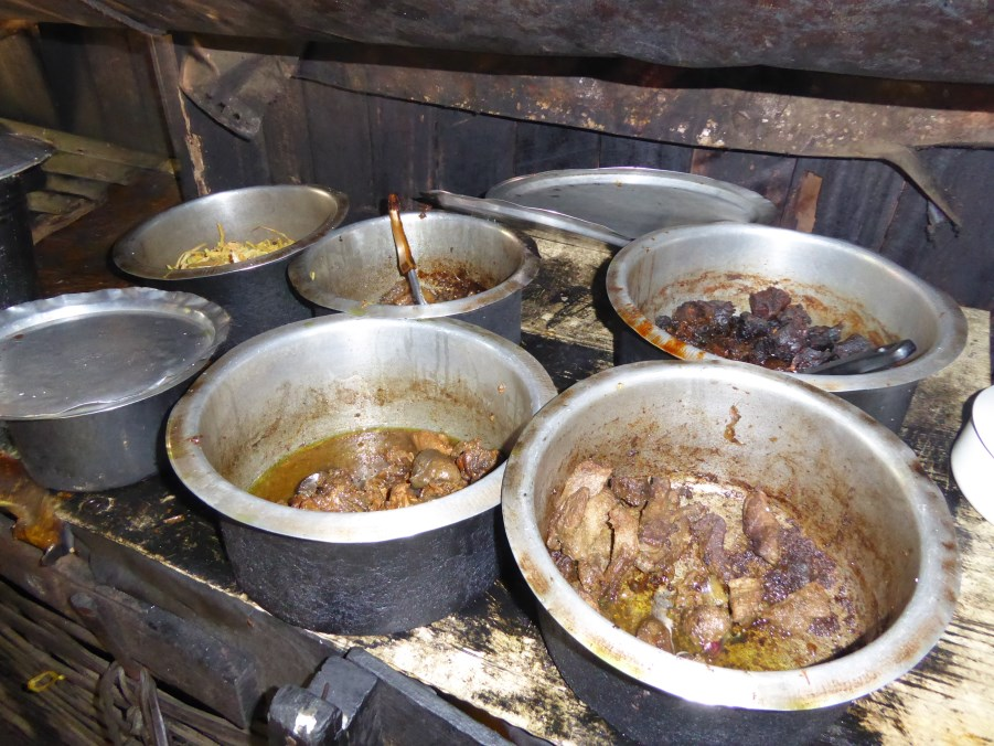.... we choose from one of four meat dishes (mutton, pork, chicken, deer) with dish after dish of tart and spicy Myanmar salads.
