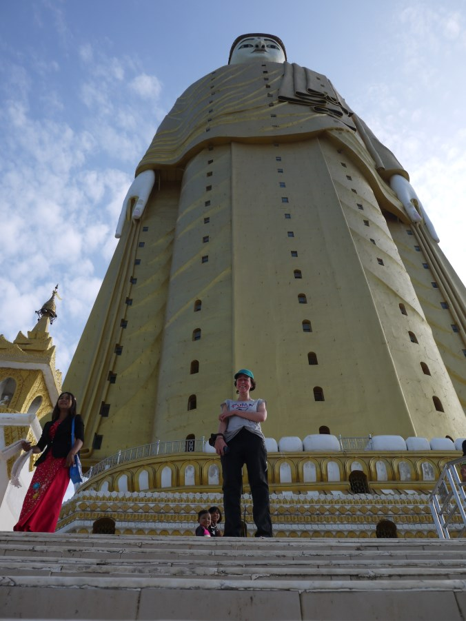 Near Monywa we visit this 21 storey Buddha. The first storeys depict hell and the upper storeys Nirvana.