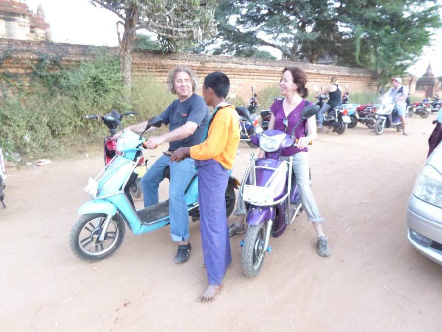 In Bagan we all hire small electric scooters to visit the most amazing temple complex.