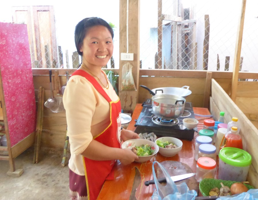 This kitchen serves the family at home and the customers in the restaurant.