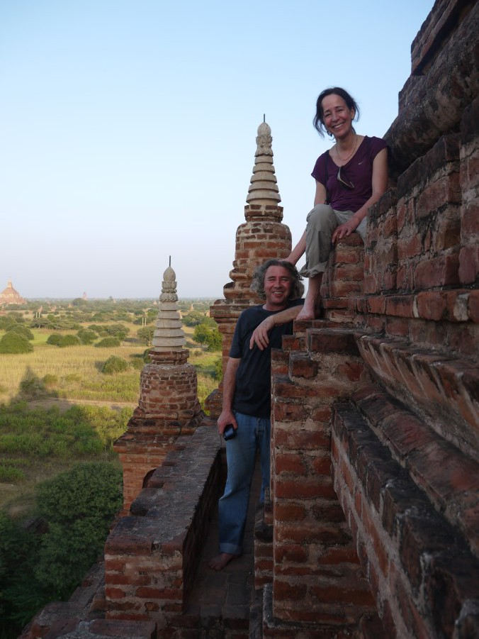 And we get to watch the sunset over the plains of Bagan from this temple.