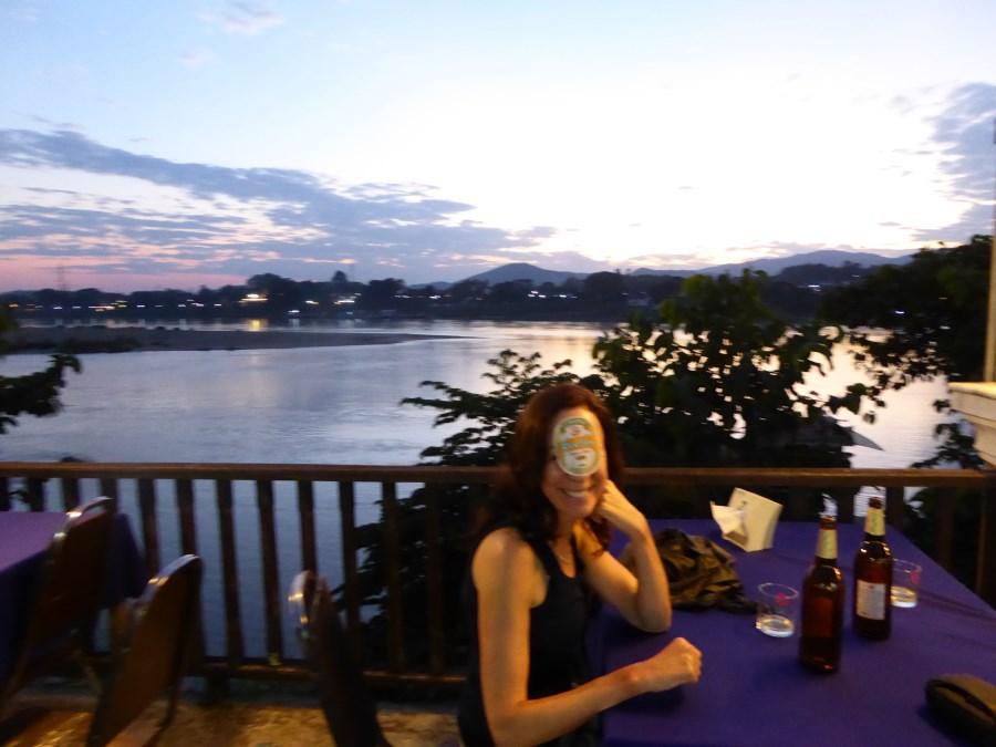 Our first BeerLao on the Mekong River. Relatively properous Thailand is on the otherside.