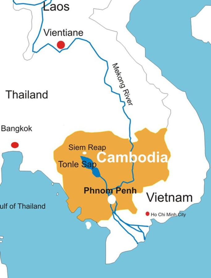 This map shows the Mekong River run through Cambodia. At the capital, Phnom Penh the Mekong is so full it backs up into the lake, Tonle Sap for 6 months!