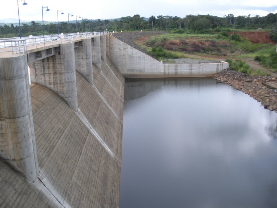 This is the a dam wall at Nam Theun. Behind this dam wall is a flooded forest.