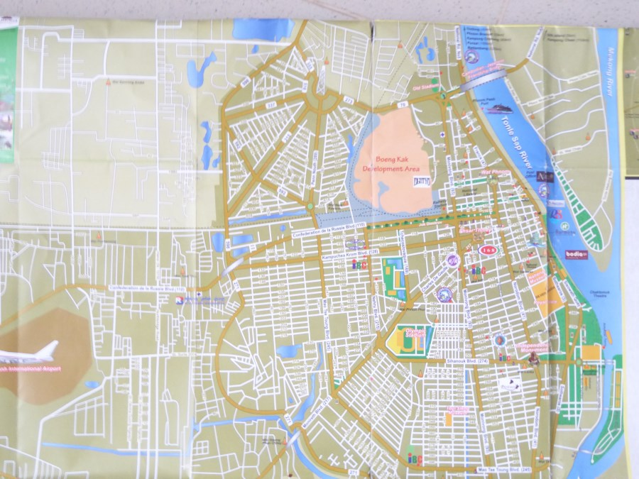This is a map of Phnom Penh, the capital city. The Boeng Kak Development Area, the pink orange blob in the centre, used to be a lake.