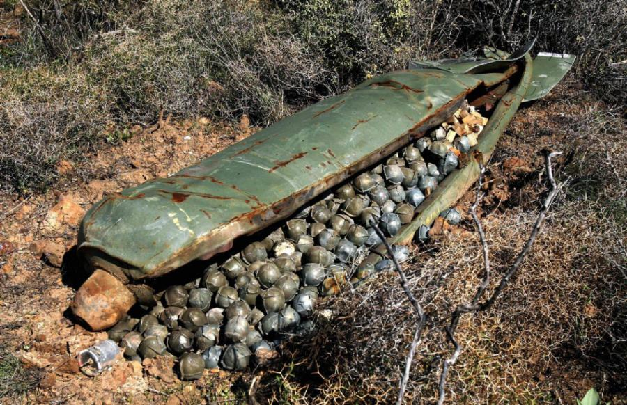 A cluster bomb casing can contain up to 670 bombies
