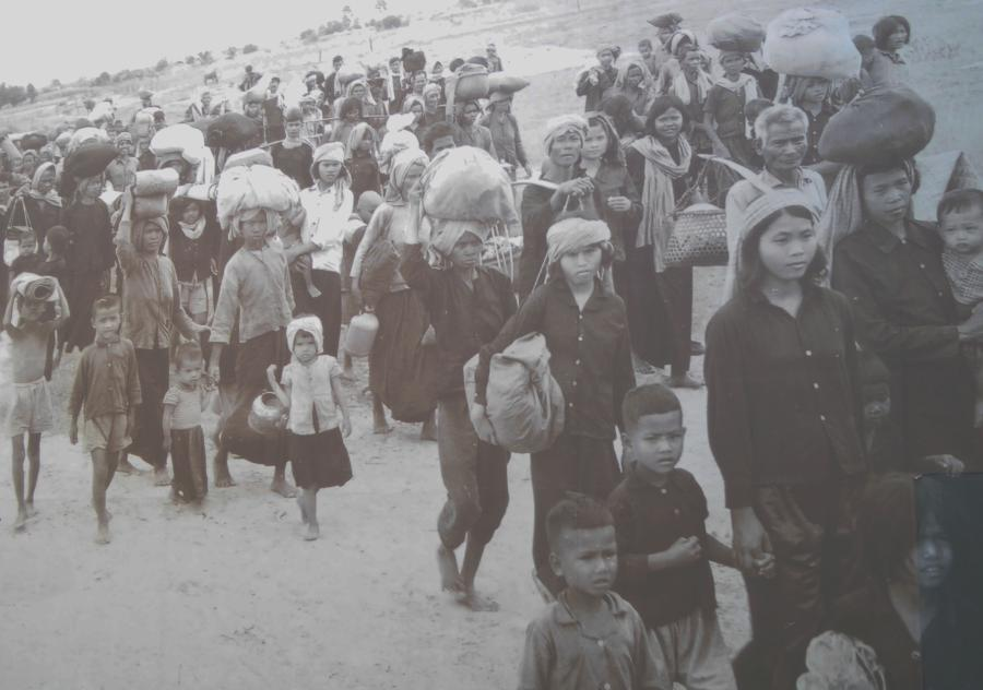 More than 2.5 million  Cambodians were marched out of the capital city Phnom Penh and forced into the countryside. Similar evacuations took place every time the Khmer Rouge took over a new city.